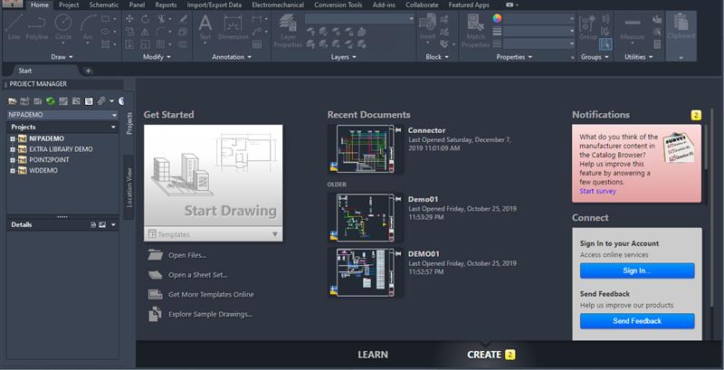 Thông tin tổng quan về giao diện Get Started của AutoCAD 2020