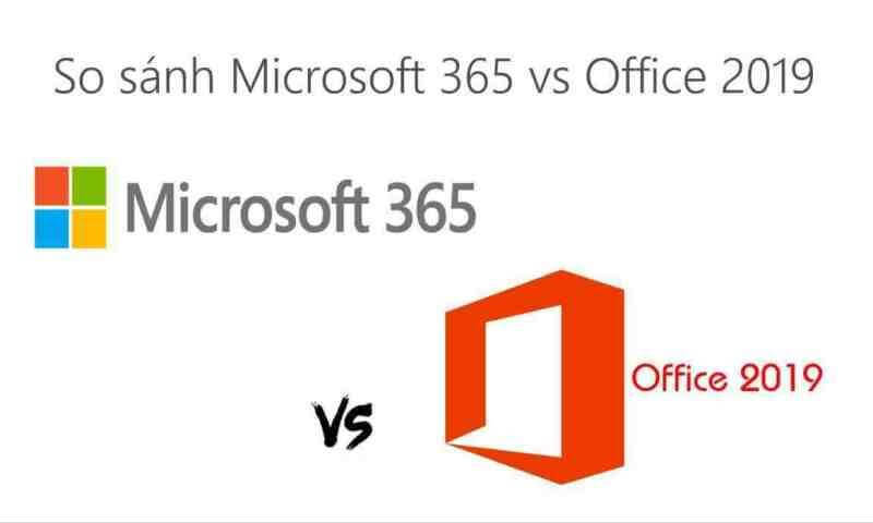So sánh Microsoft 365 với Office 2019